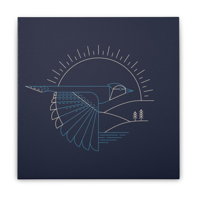 Blue Jay Home Stretched Canvas by Threadless Artist Shop