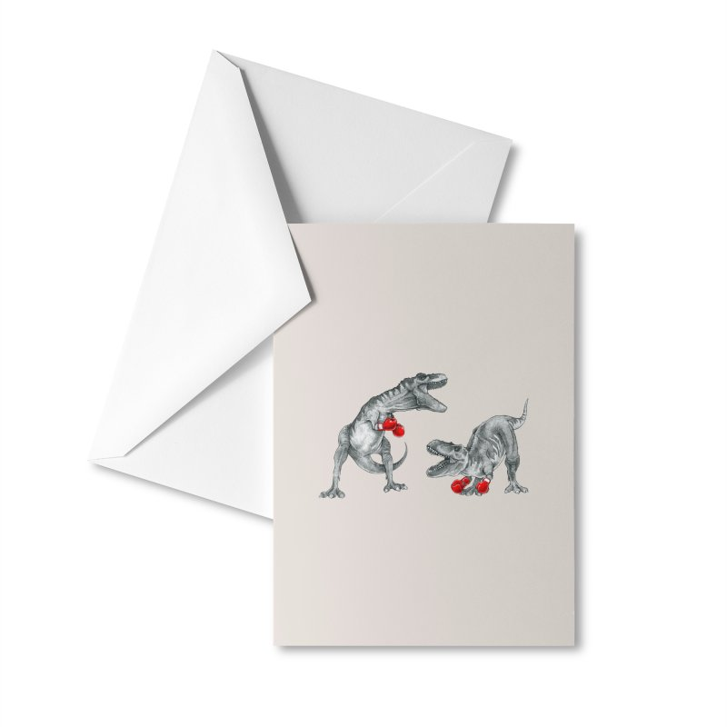 T-Rex Boxing Accessories Greeting Card by Threadless Artist Shop