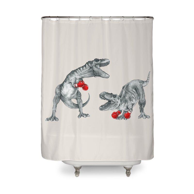 T-Rex Boxing Home Shower Curtain by Threadless Artist Shop