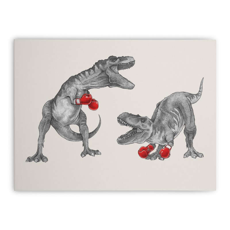 T-Rex Boxing Home Stretched Canvas by Threadless Artist Shop