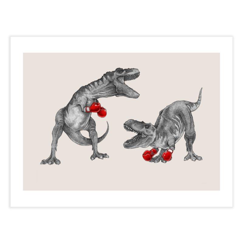 T-Rex Boxing Home Fine Art Print by Threadless Artist Shop