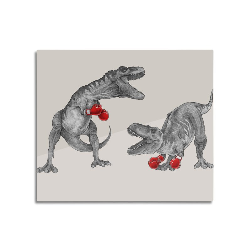 T-Rex Boxing Home Mounted Acrylic Print by Threadless Artist Shop