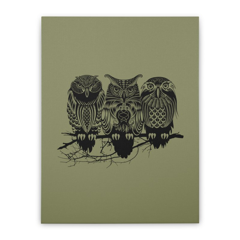 Owls of the Nile Home Stretched Canvas by Threadless Artist Shop