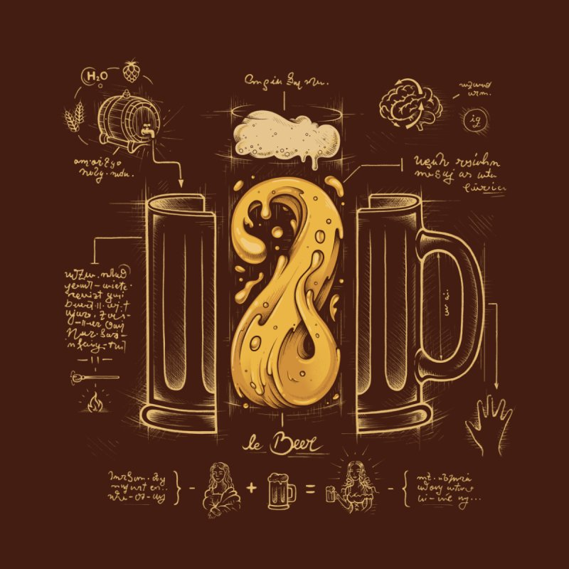 Le Beer (Elixir of Life) Home Mounted Aluminum Print by Threadless Artist Shop