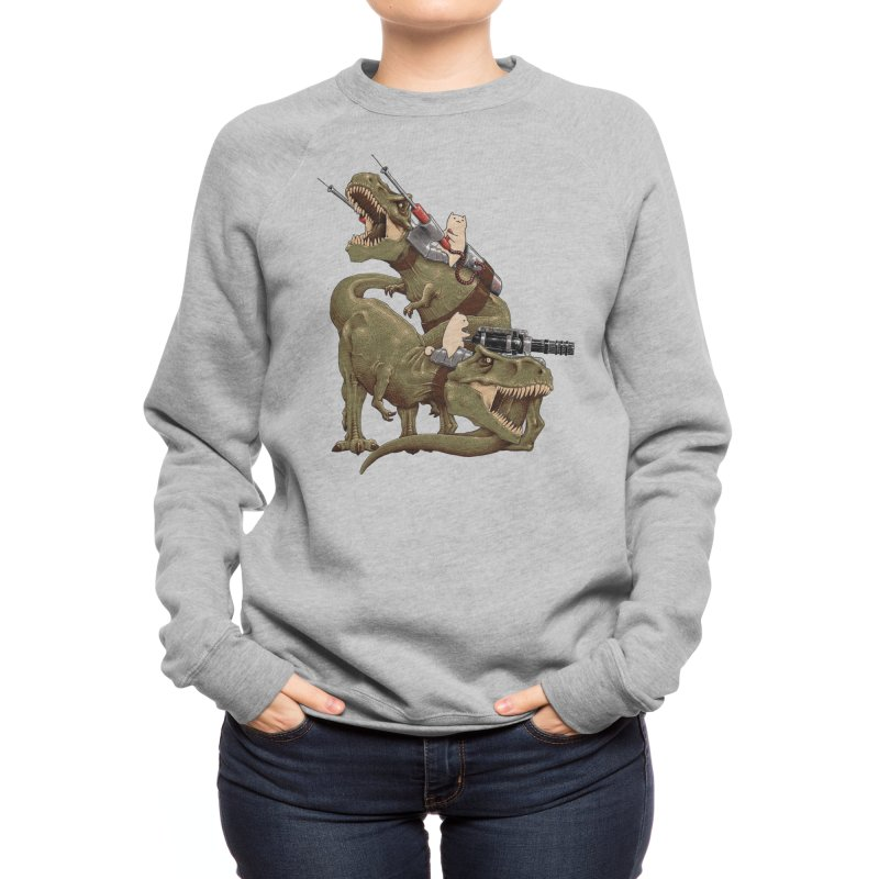 Cats Riding T-Rexs! Women's Sweatshirt by Threadless Artist Shop