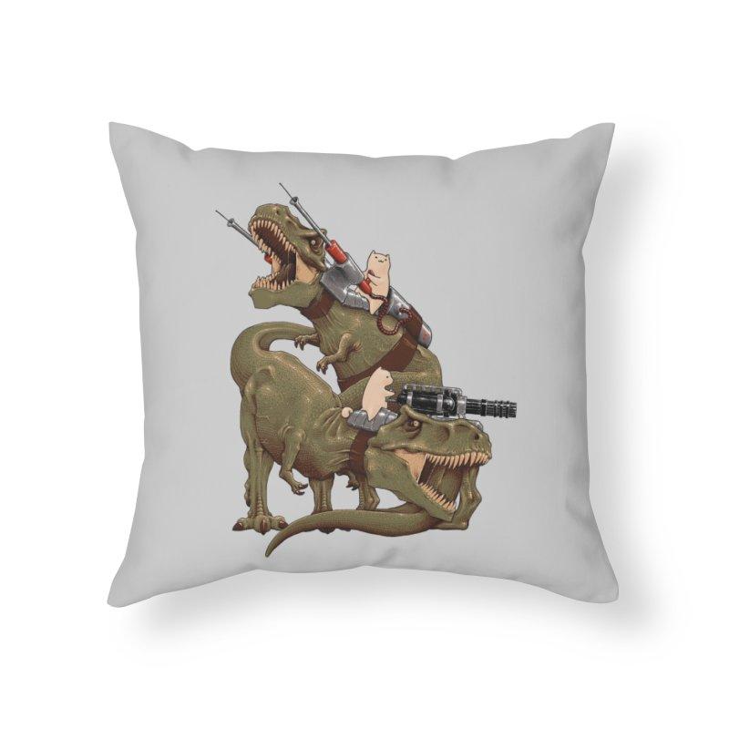 Cats Riding T-Rexs! Home Throw Pillow by Threadless Artist Shop