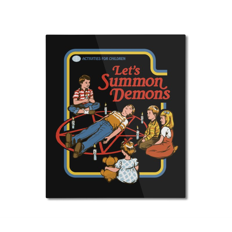 Let's Summon Demons (Black Variant) Home Mounted Aluminum Print by Threadless Artist Shop