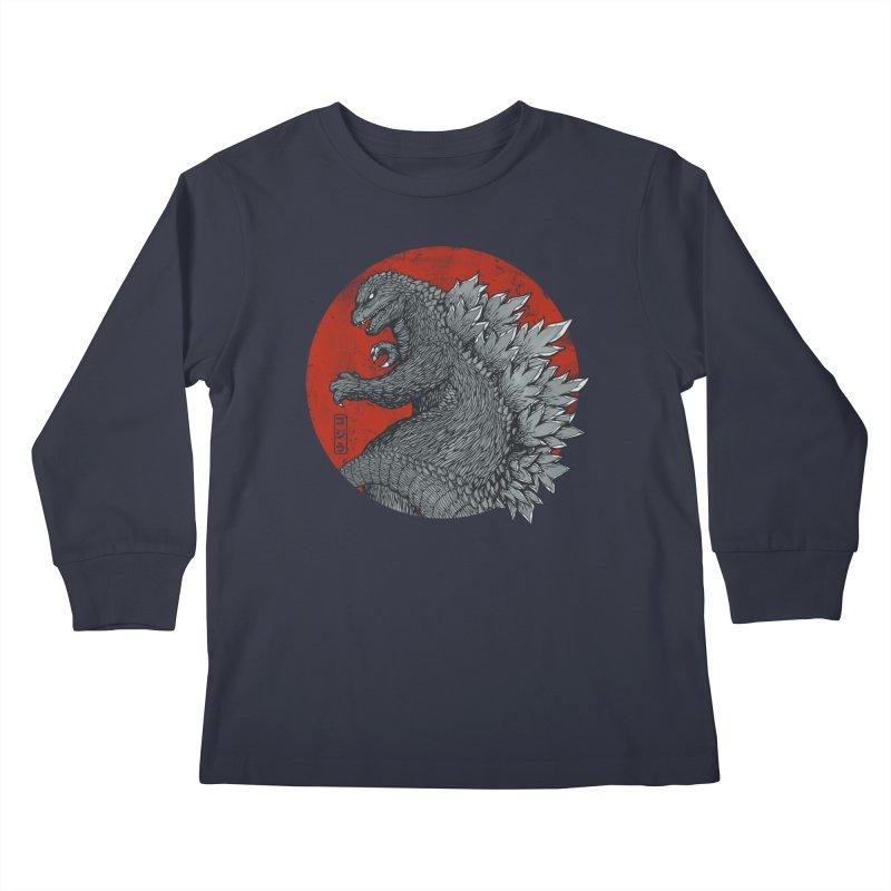 Tokyo Kaiju (Black Variant) Kids Longsleeve T-Shirt by Threadless Artist Shop