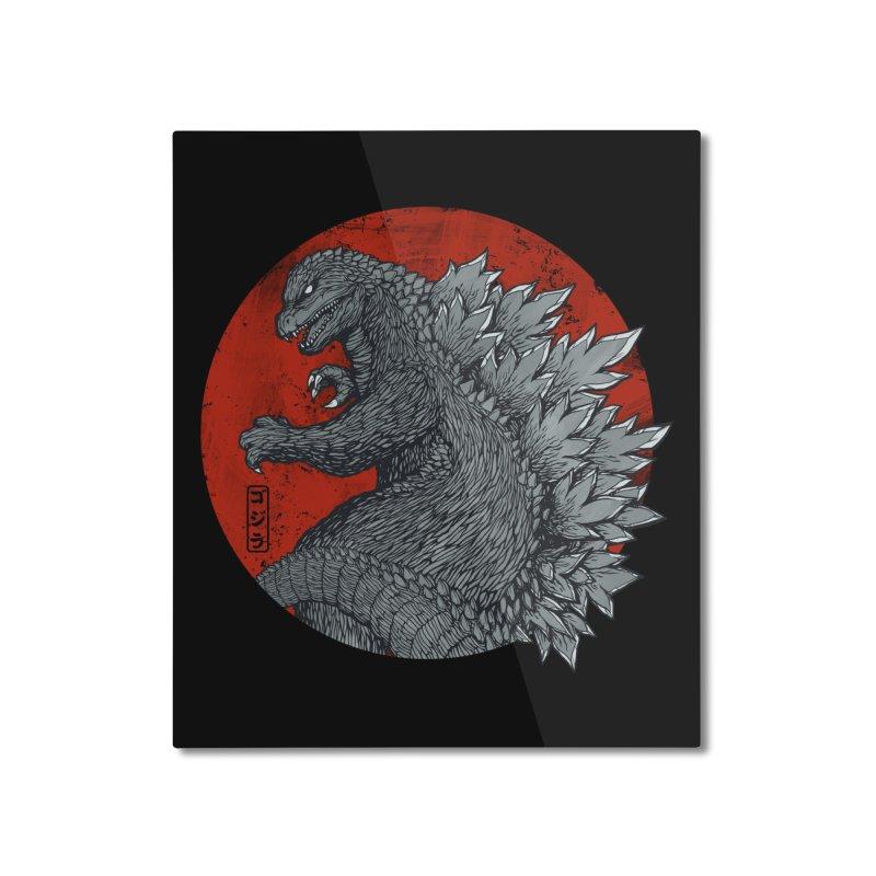 Tokyo Kaiju (Black Variant) Home Mounted Aluminum Print by Threadless Artist Shop