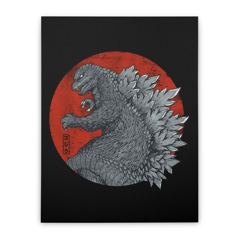 Tokyo Kaiju (Black Variant) Home Stretched Canvas by Threadless Artist Shop