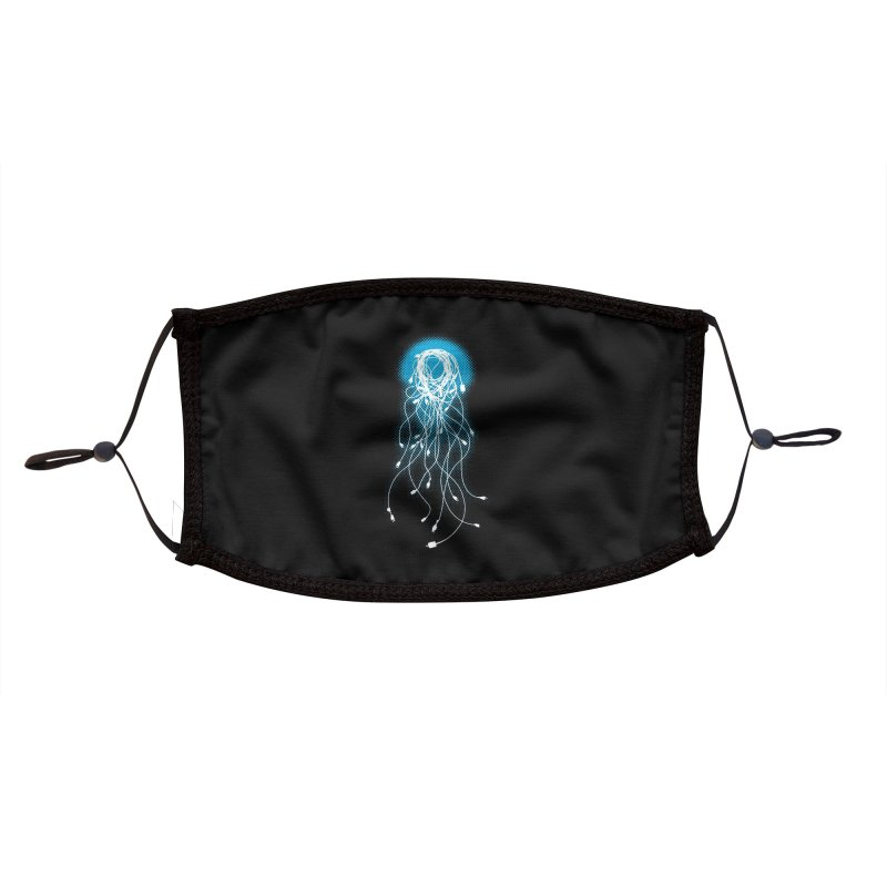 Electric Jellyfish (Black Variant) Accessories Face Mask by Threadless Artist Shop