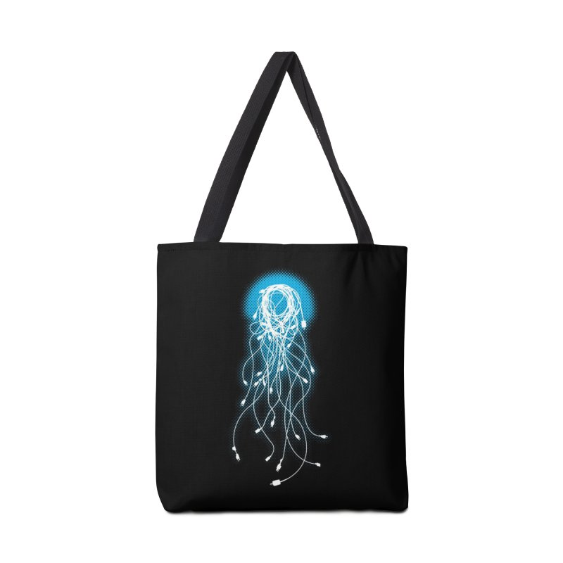 Electric Jellyfish (Black Variant) Accessories Bag by Threadless Artist Shop