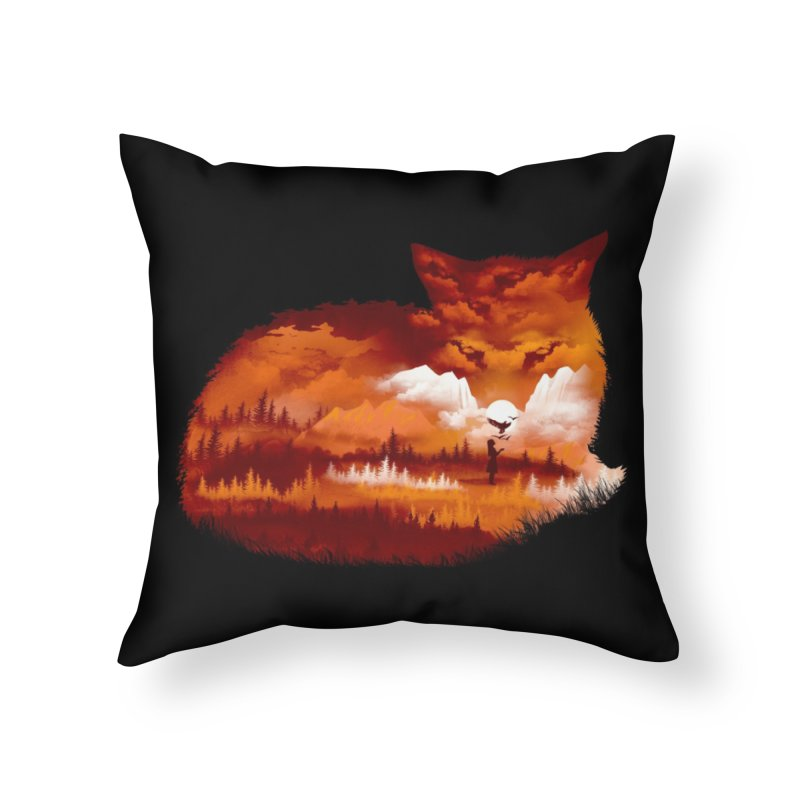The Girl in the Red Forest (Black Variant) Home Throw Pillow by Threadless Artist Shop
