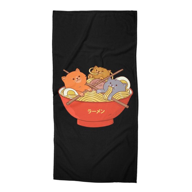Ramen and cats (Black Variant) Accessories Beach Towel by Threadless Artist Shop