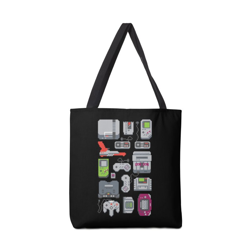 A Pixel of My Childhood (Black Variant) Accessories Bag by Threadless Artist Shop