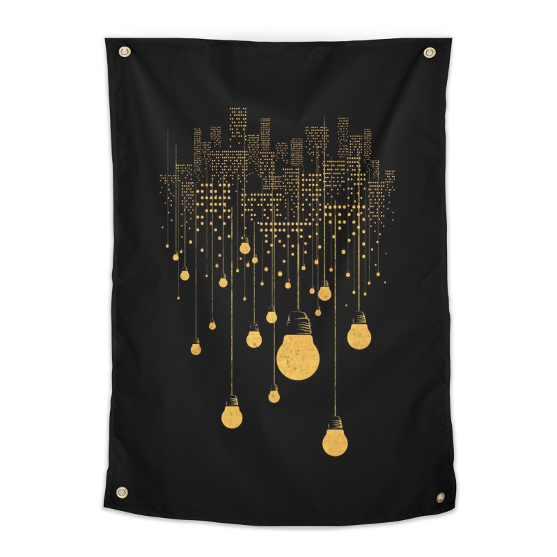 The Hanging City (Black Variant) Home Tapestry by Threadless Artist Shop