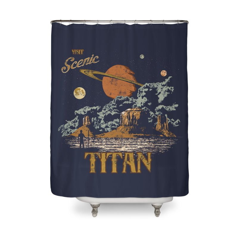 Visit Scenic Titan Home Shower Curtain by Threadless Artist Shop