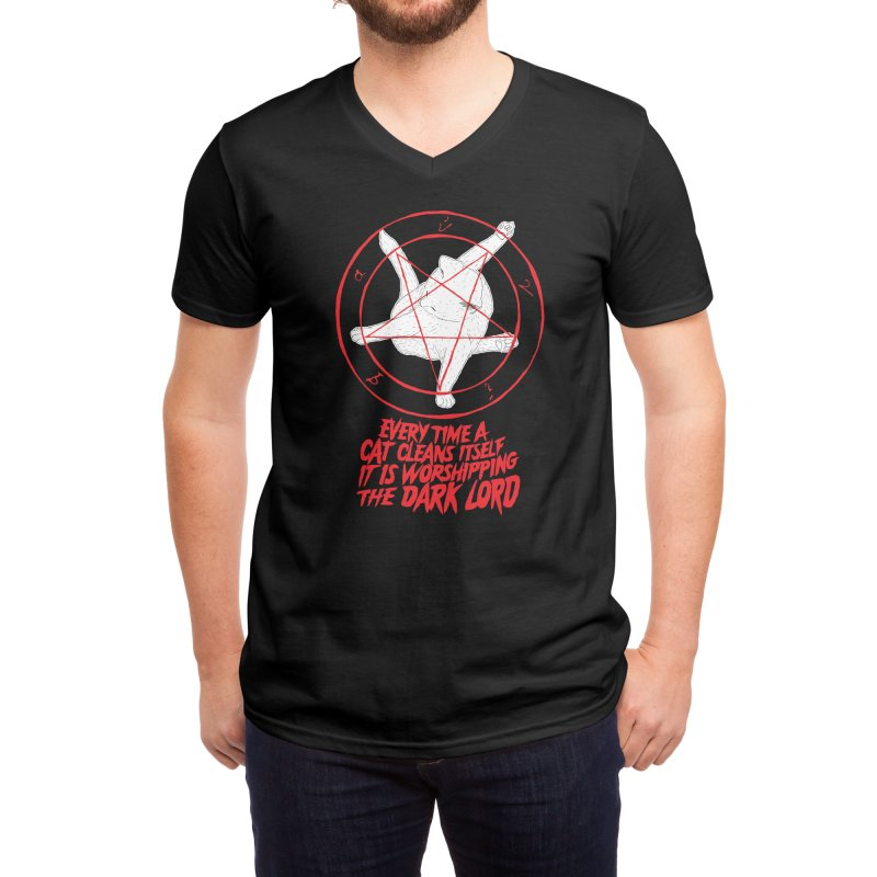 EVERY TIME A CAT CLEANS ITSELF IT IS WORSHIPPING THE DARK LORD Men's V-Neck by Threadless Artist Shop