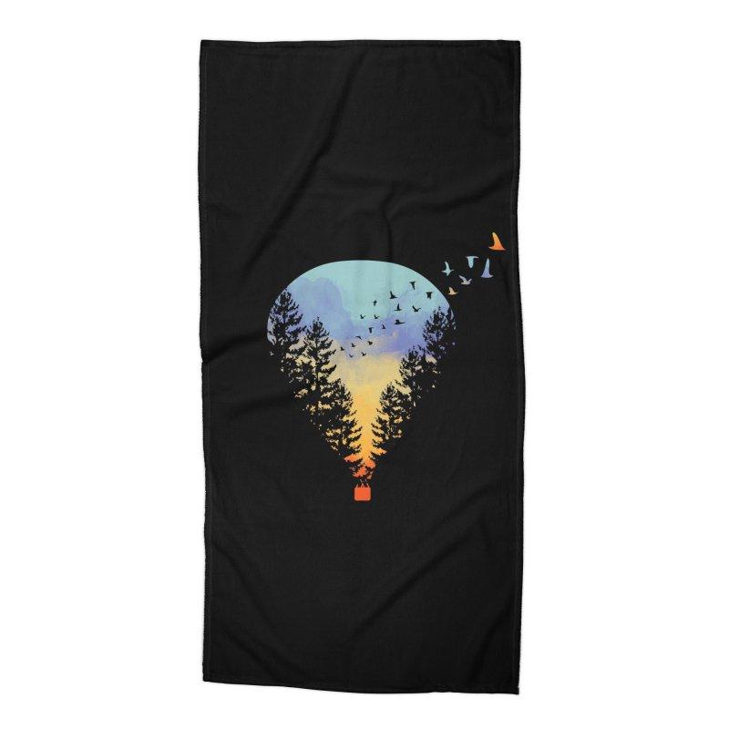 Flying Far Far Away (Black Variant) Accessories Beach Towel by Threadless Artist Shop