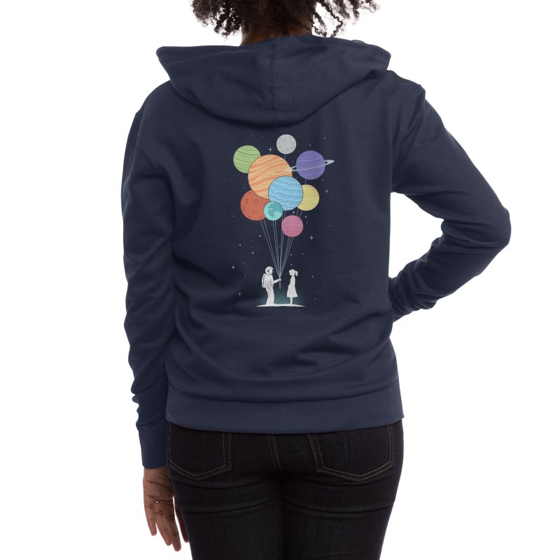 You Are My Universe (Black Variant) Women's Zip-Up Hoody by Threadless Artist Shop