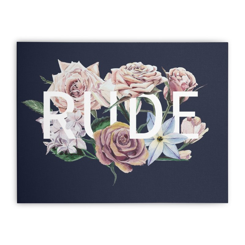 Floral Rude Home Stretched Canvas by Threadless Artist Shop