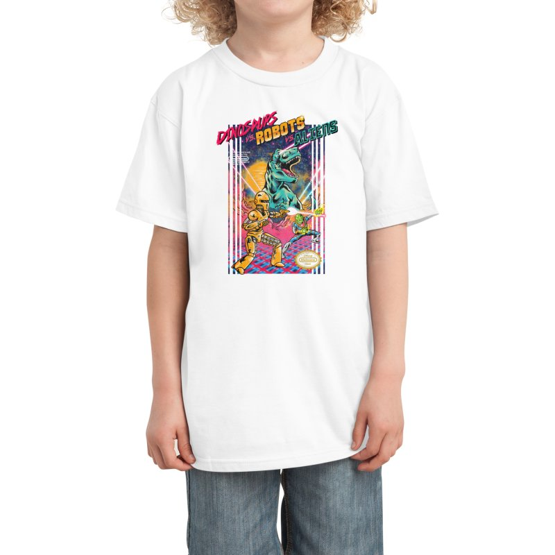 Dinosaurs vs. Robots vs. Aliens Kids T-Shirt by Threadless Artist Shop