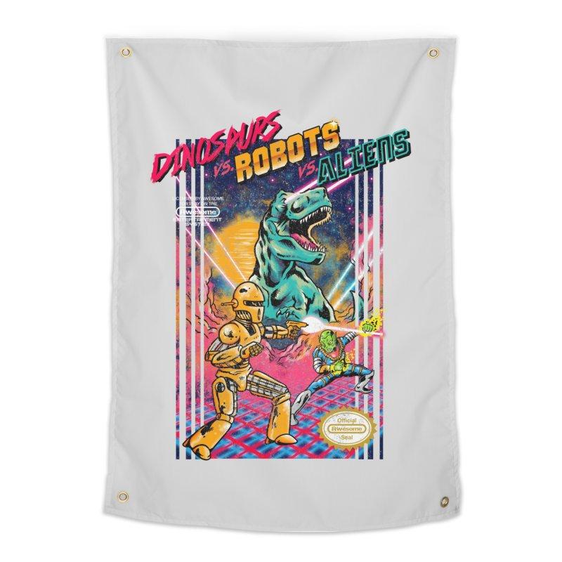 Dinosaurs vs. Robots vs. Aliens Home Tapestry by Threadless Artist Shop