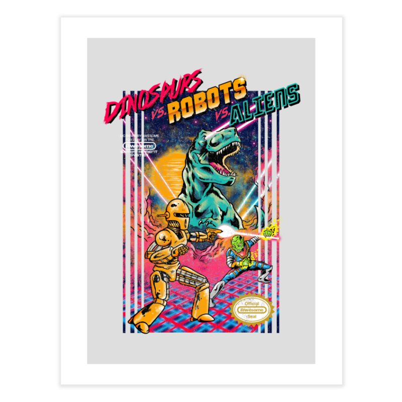 Dinosaurs vs. Robots vs. Aliens Home Fine Art Print by Threadless Artist Shop
