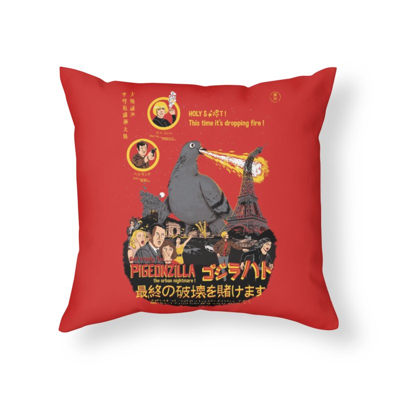 PIGEONZILLA omg! Home Throw Pillow by Threadless Artist Shop