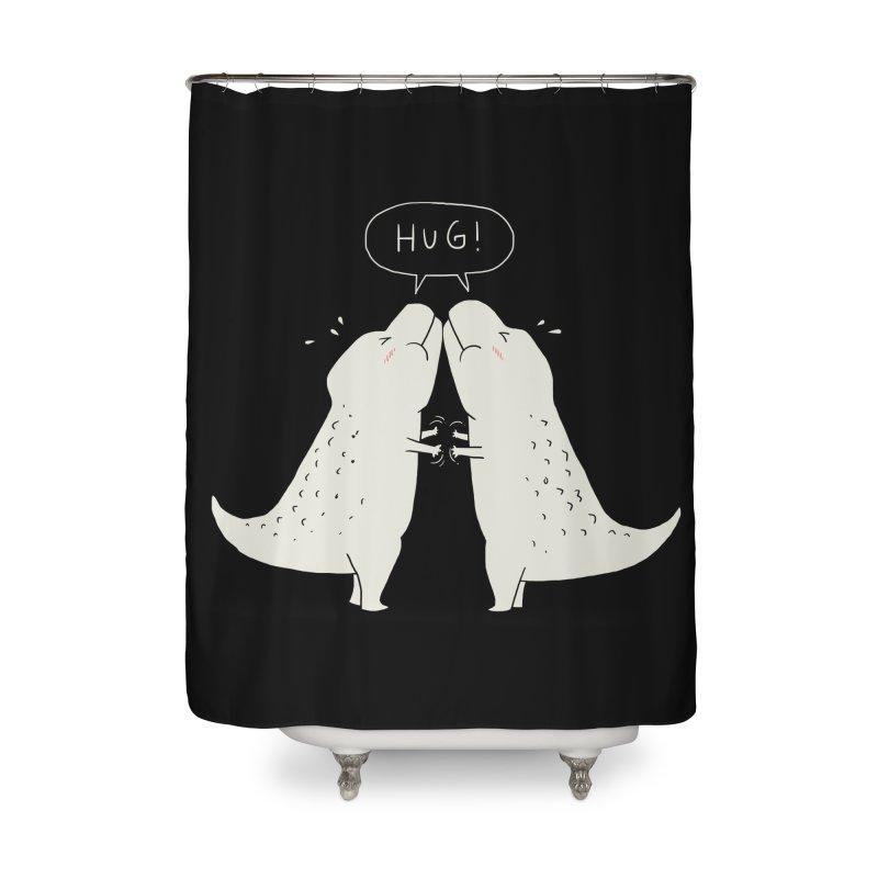 Dino Hug Home Shower Curtain by Threadless Artist Shop