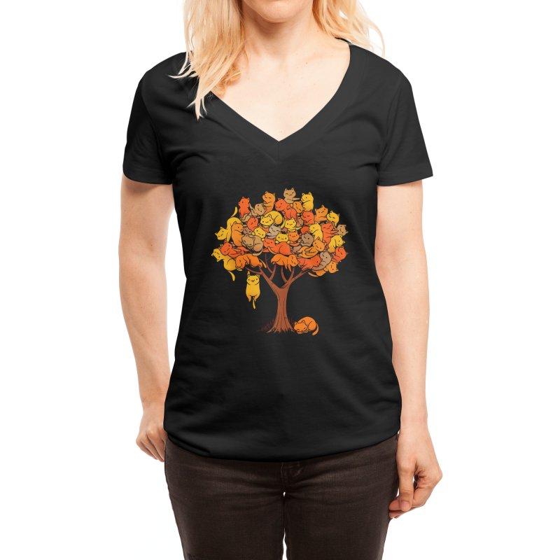 Cat Tree Women's V-Neck by Threadless Artist Shop