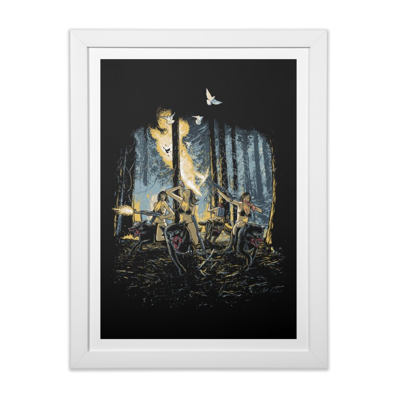 HOT CHICKS ON WOLVES Home Framed Fine Art Print by Threadless Artist Shop