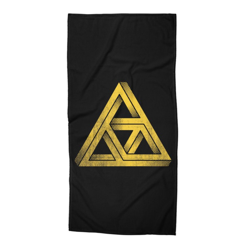 Penrose Triforce (Black Variant) Accessories Beach Towel by Threadless Artist Shop