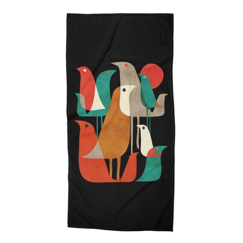 Flock of Birds (Black Variant) Accessories Beach Towel by Threadless Artist Shop
