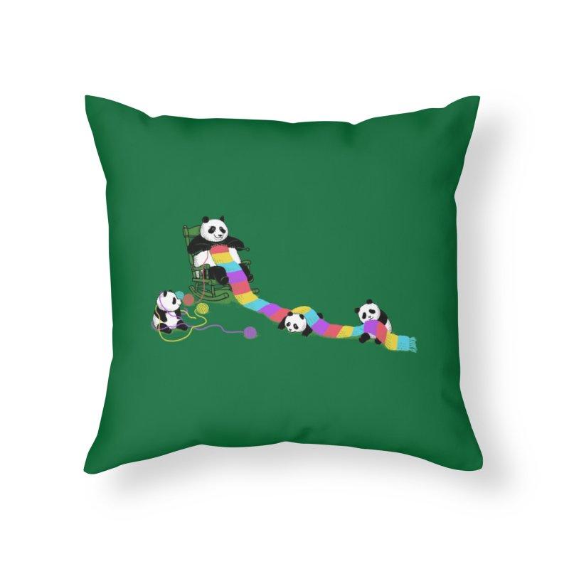 Panda Weaving Home Throw Pillow by Threadless Artist Shop