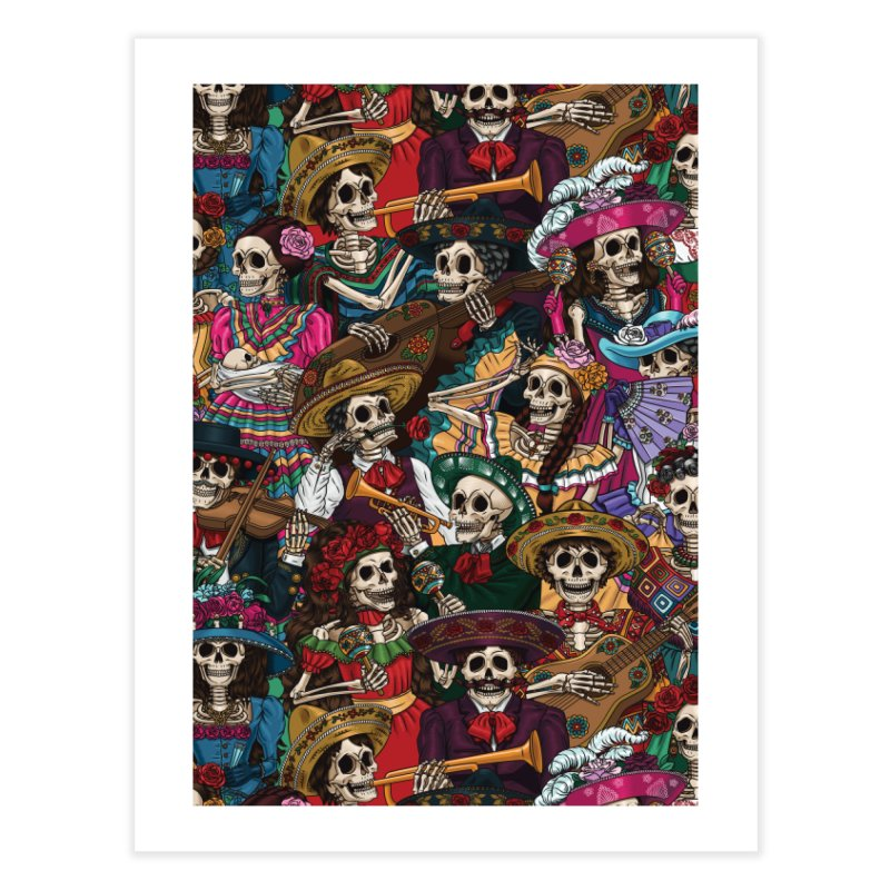 Dia de los Muertos Home Fine Art Print by Threadless Artist Shop