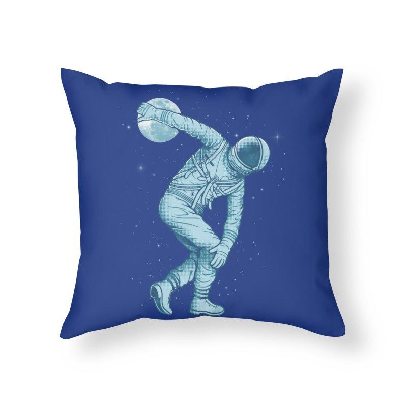 Astronaut Discus Throwing Home Throw Pillow by Threadless Artist Shop