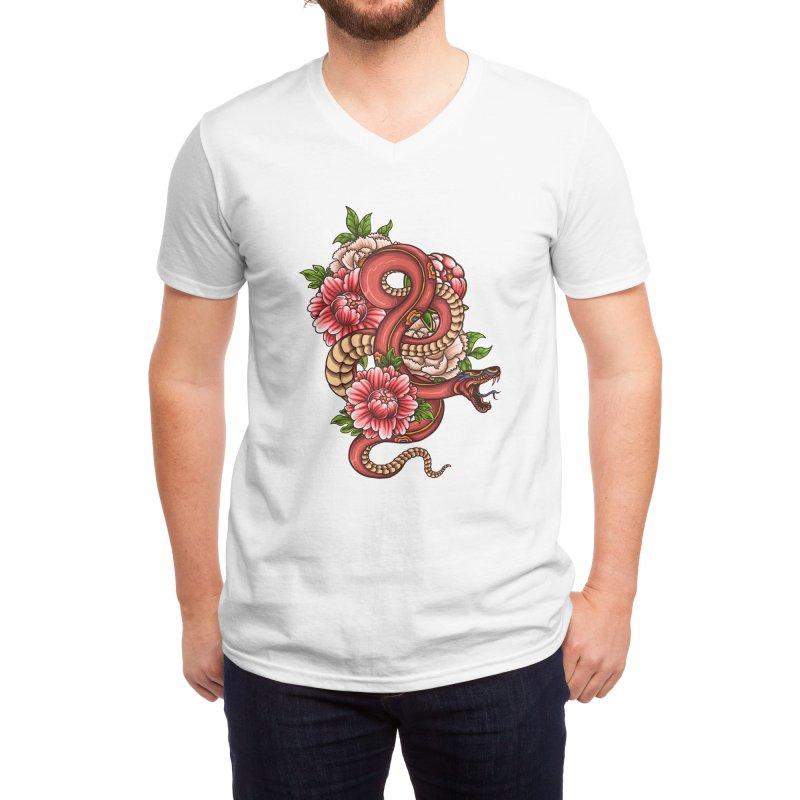 Pink Floral Dragon Men's V-Neck by Threadless Artist Shop