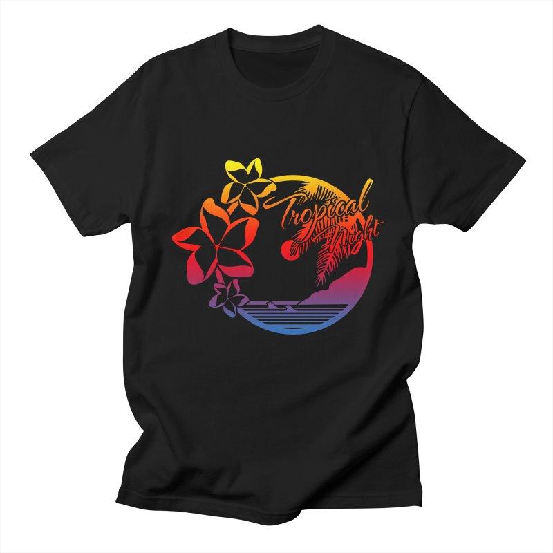 Tropical Night in Men's Regular T-Shirt Black by Threaska