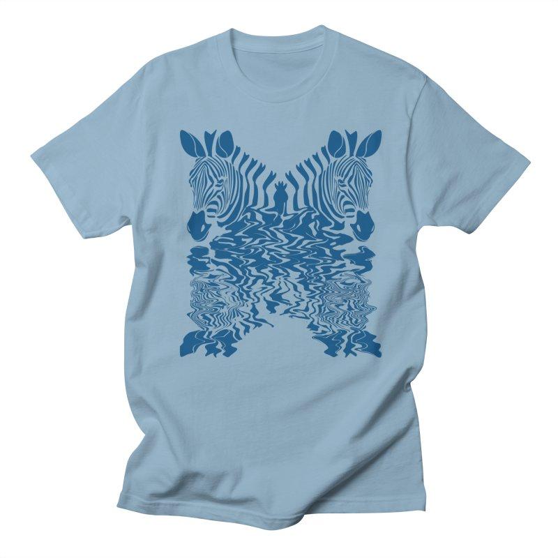 Zebras x Rivers in Men's Regular T-Shirt Light Blue by Threaska