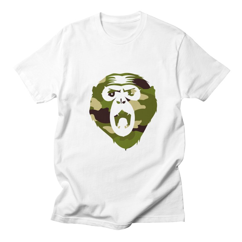 Angry Ape (Camo) in Men's Regular T-Shirt White by Threaska