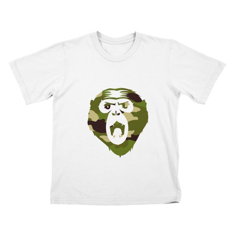 Angry Ape (Camo) Kids T-Shirt by Threaska