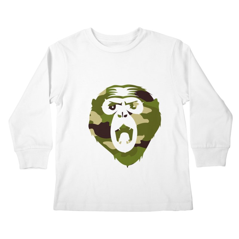 Angry Ape (Camo) Kids Longsleeve T-Shirt by Threaska