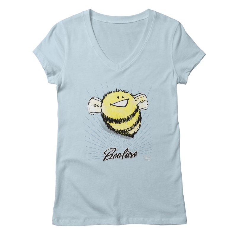 Bee-lieve! Women's V-Neck by threespirited's Artist Shop