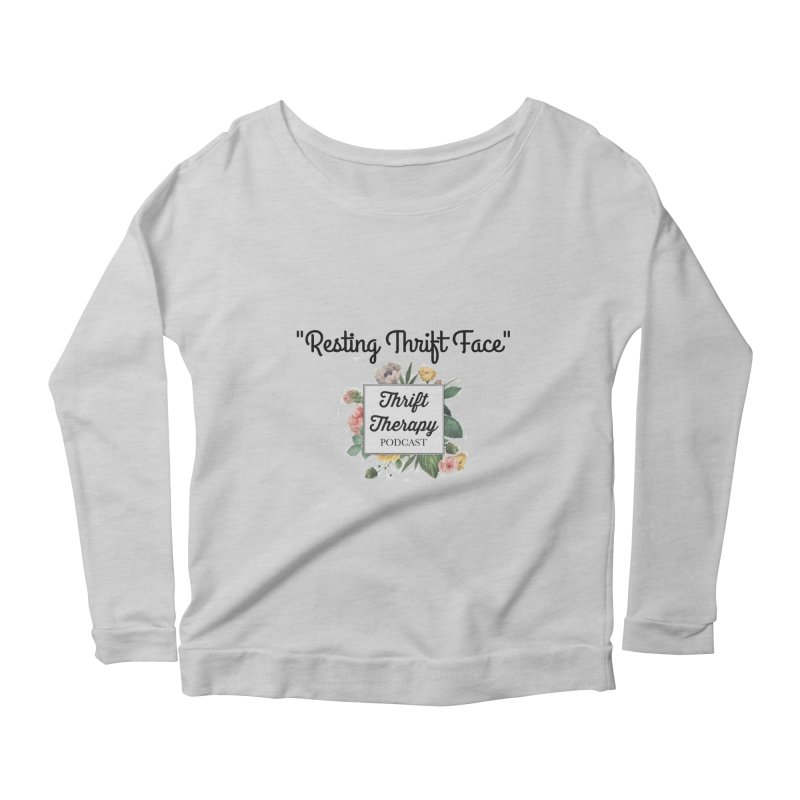 RestingThrift Face Women's Scoop Neck Longsleeve T-Shirt by thrifttherapypod's swag