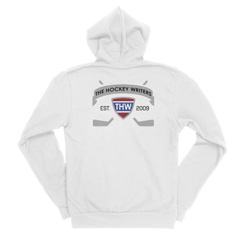 THW Hockey Sticks Logo - for lighter items Men's Sponge Fleece Zip-Up Hoody by The Hockey Writers