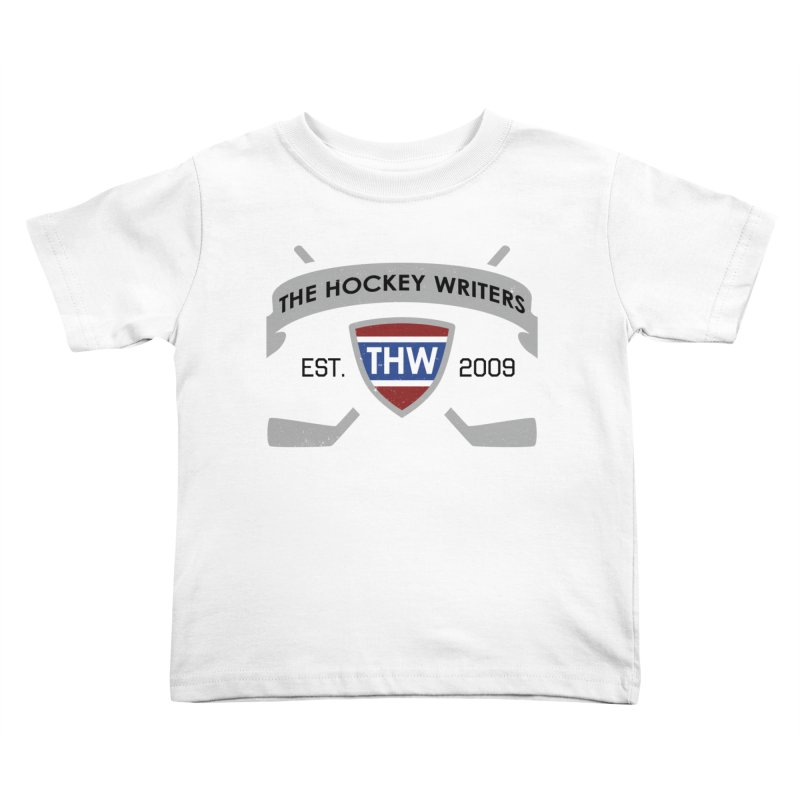 THW Hockey Sticks Logo - for lighter items Kids Toddler T-Shirt by The Hockey Writers