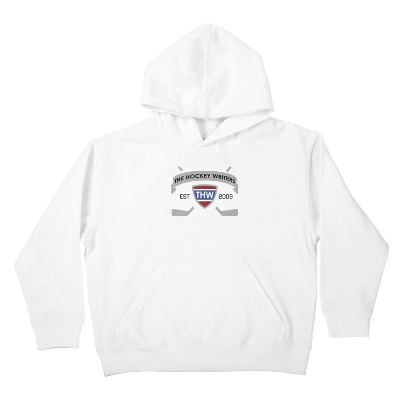 THW Hockey Sticks Logo - for lighter items Kids Pullover Hoody by The Hockey Writers