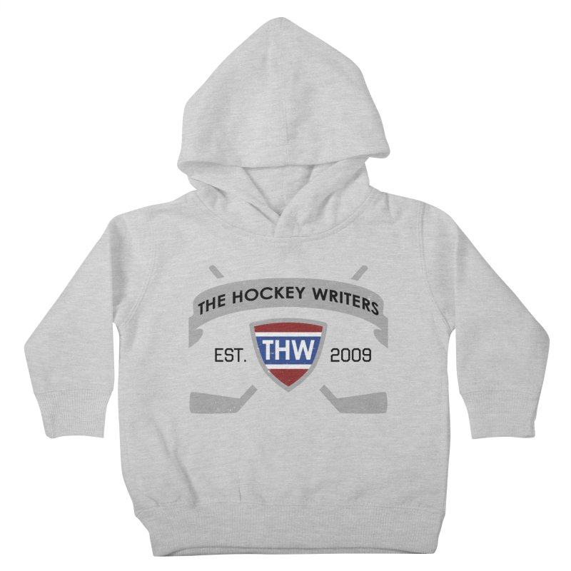 THW Hockey Sticks Logo - for lighter items Kids Toddler Pullover Hoody by The Hockey Writers