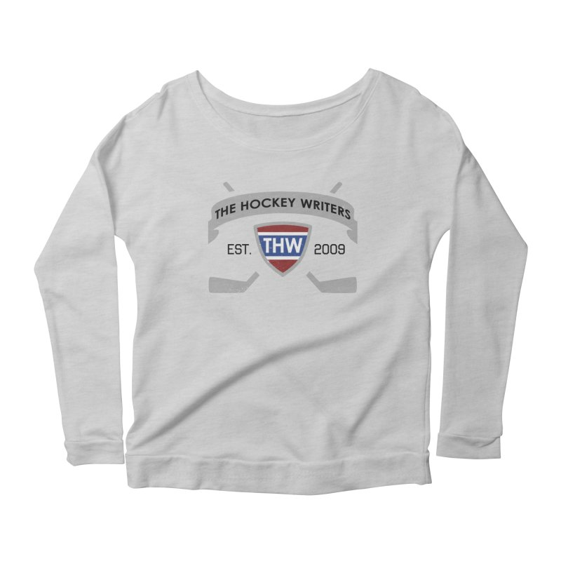 THW Hockey Sticks Logo - for lighter items Women's Scoop Neck Longsleeve T-Shirt by The Hockey Writers